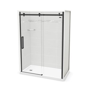 MAAX Utile Alcove Shower - Left Drain - 60-in x 32-in x 84-in - Origin Arctik - Satin black