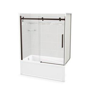 MAAX Utile Tub Shower Kit - Left Drain - 60-in x 30-in x 81-in - Origin Arctik - Dark Bronze