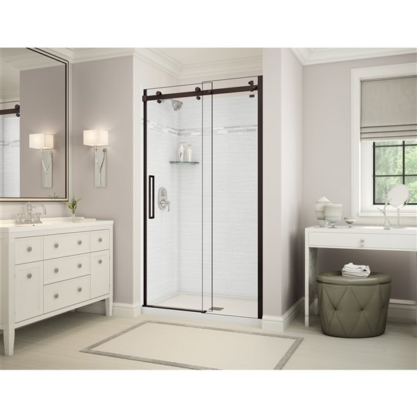 MAAX Utile Alcove Shower - Center Drain - 48-in x 32-in x 84-in - Origin Arctik - Dark bronze