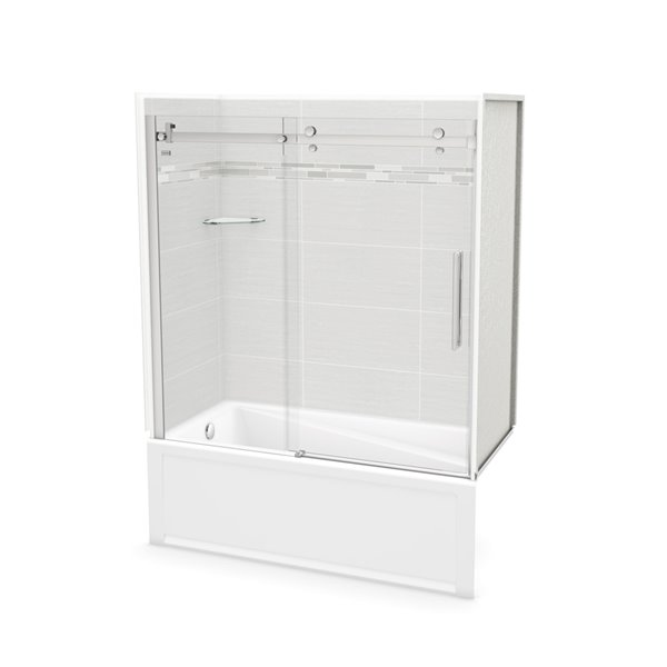 MAAX Utile Tub Shower Kit - Left Drain - 60-in x 30-in x 81-in - Origin Arctik - Chrome