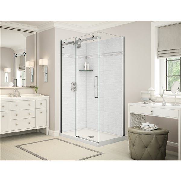 MAAX Utile Corner Shower Kit - Center Drain - 48-in x  32-in x 84-in - Origin Arctik - Chrome