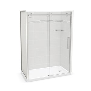 MAAX Utile Alcove Shower - Right Drain - 60-in x 32-in x 84-in - Origin Arctik - Chrome
