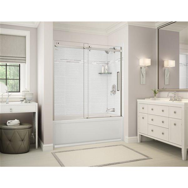 MAAX Utile Tub Shower Kit - Right Drain - 60-in x 30-in x 81-in - Origin Arctik - Brushed Nickel