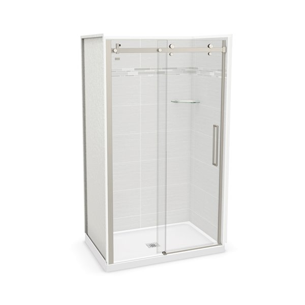 MAAX Utile Alcove Shower - Center Drain - 48-in x 32-in x 84-in - Origin Arctik - Brushed nickel