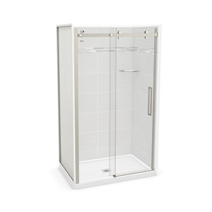 MAAX Utile Alcove Shower - Center Drain - 48-in x 32-in x 84-in - Origin Arctik - Brushed nickel