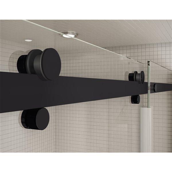 Ensemble de douche en alcôve Utile de MAAX, drain au centre, 48 po x 32 po x 84 po, Origin Arctik, noir mat