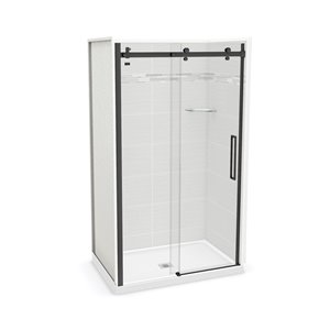 MAAX Utile Alcove Shower - Center Drain - 48-in x 32-in x 84-in - Origin Arctik - Satin black