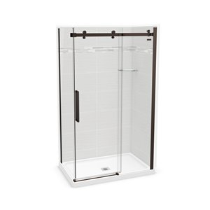 MAAX Utile Corner Shower Kit - Center Drain - 48-in x  32-in x 84-in - Origin Arctik - Dark Bronze