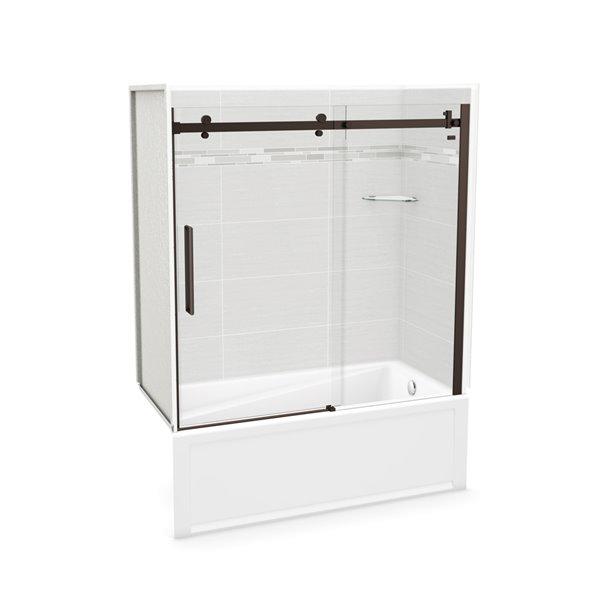 MAAX Utile Tub Shower Kit - Right Drain - 60-in x 30-in x 81-in - Origin Arctik - Dark Bronze