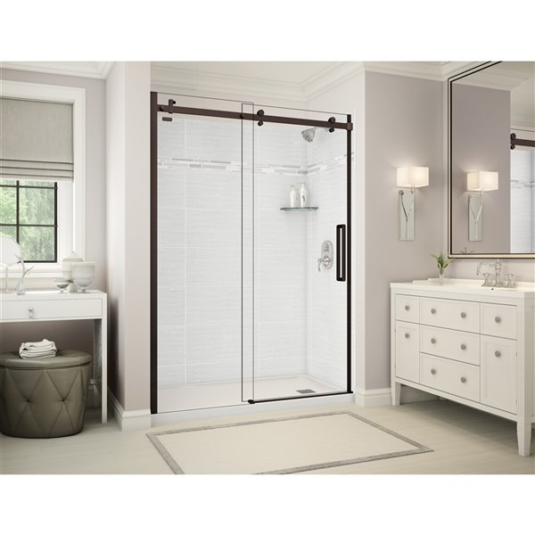 MAAX Utile Alcove Shower - Right Drain - 60-in x 32-in x 84-in - Origin Arctik