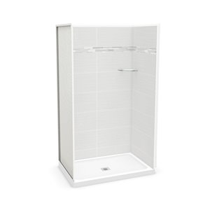 MAAX Utile Alcove Shower - Center Drain - 48-in x 32-in x 84-in - Origin Arctik