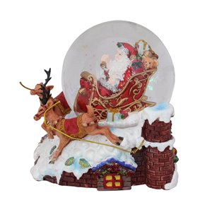 Northlight Red 5.5-in Santa Clause on Sleigh Reindeer Tabletop Decoration