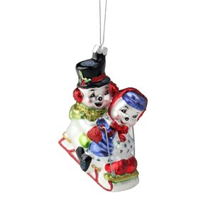 Northlight Cheerful Sledding Snowmen Couple Glass Ornament - 4.5-in - White and Red