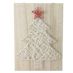 Northlight 11-in White and Red String Christmas Tree Wall Art