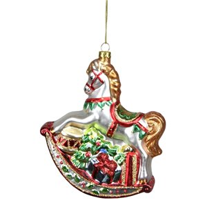 Northlight Traditional Rocking Horse with Gifts Ornament - 5-in - White and Red
