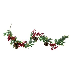 Northlight Pine Springs  Berries and Pine Cones Artificial Christmas Garland - Unlit - 5-ft x 4.75-in - Green