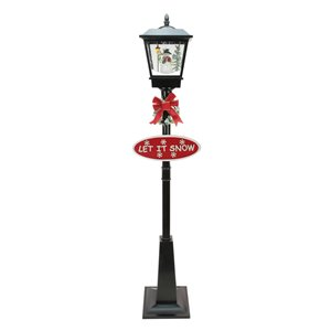 Northlight 70.75-in Black Lighted Musical Snowman Vertical Snowing Street Lamp