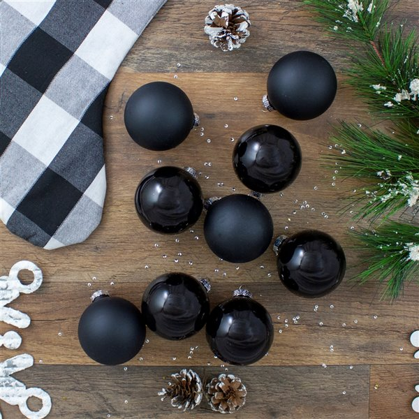 Northlight Shiny and Matte Glass Ball Christmas Ornaments - 2.5-in - Black - 9 Piece