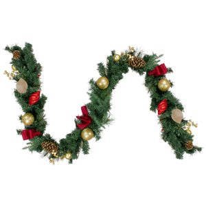 Northlight Ornaments and Pine Cone Artificial Christmas Garland- Unlit - 6-ft - Red and Gold