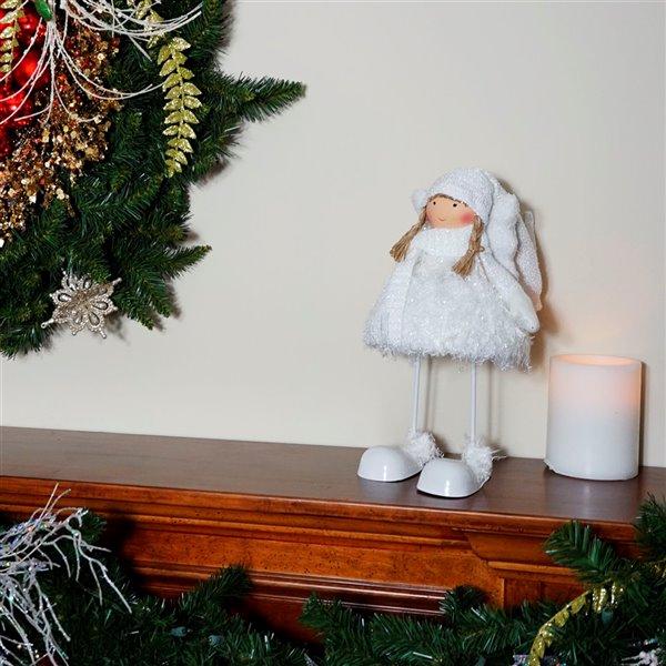 Northlight White 24-in Snowy Woodlands Plush Angel Bobble Girl Christmas Figurine