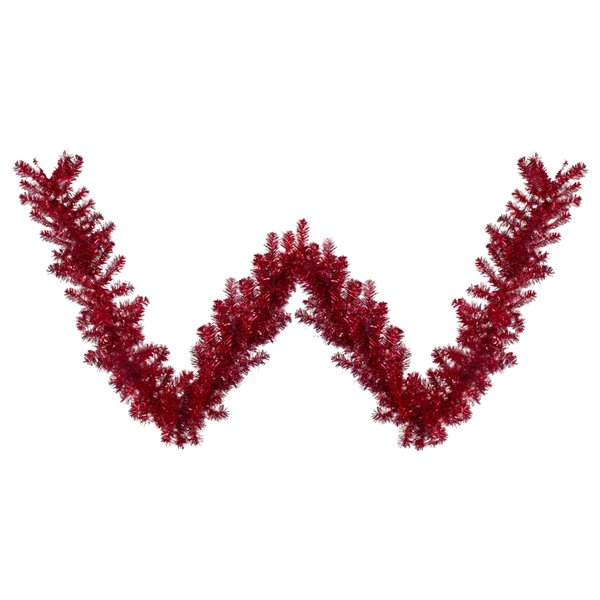 Northlight Metallic Tinsel Artificial Christmas Garland - Unlit - 9-ft x 12-in - Red