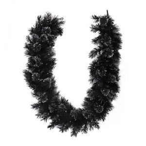 Northlight Pre-Lit Battery Operated Bristle Artificial Christmas Garland - 6-ft x 9-in - Black