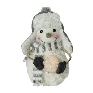 Northlight White 10-in Snowman Holding a Lighted Snowball Christmas Tabletop Decoration