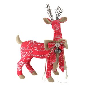 Northlight Red and Brown 24-in Reindeer with Bow Christmas Tabletop Decoration