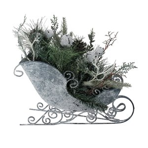 Northlight Gray and Green 14-in Frosted Christmas Bell and Folioage Filled Tabletop Sleigh