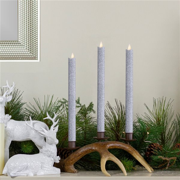 Northlight Glittered Flameless Taper Christmas Candles 12-in - Silver - Set of 2