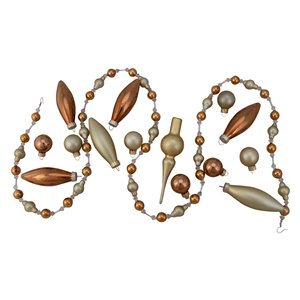 Northlight Christmas Beaded Garland and Ornament Set 4.5-ft - 16-Pcs - Champagne Gold
