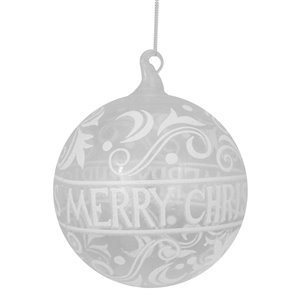 Northlight Glass Merry Christmas Ball Ornament - 6-in - Clear and White