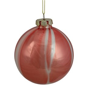 Northlight Marbled Glass Christmas Ball Ornament - 4-in - Mahogany Red