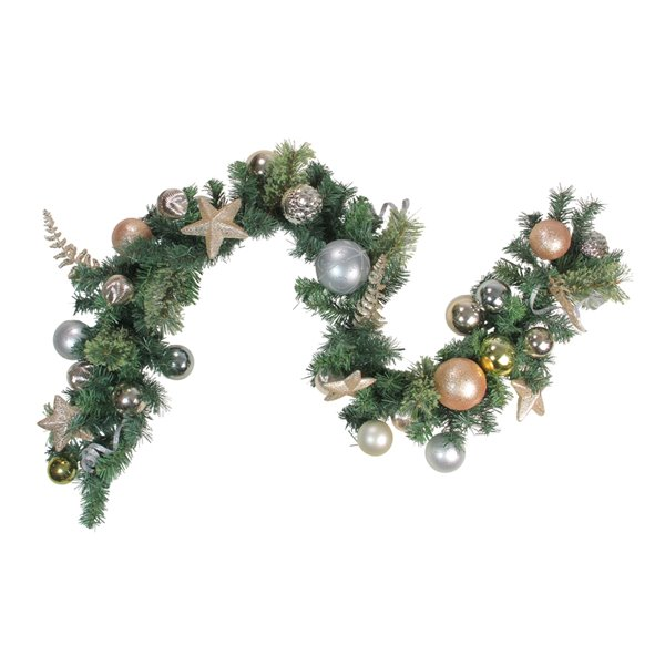 Northlight Leaves Ornaments with Stars Artificial Christmas Garland - 6-ft x 12-in - Green