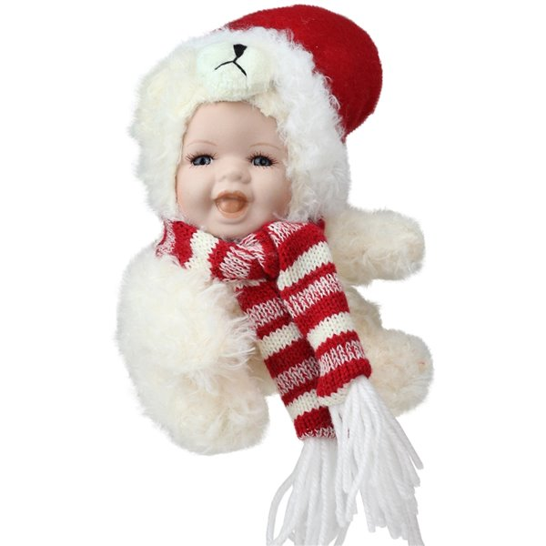 Northlight White and Red 5.75-in Baby in Polar Bear Costume Doll Tabletop Decoration