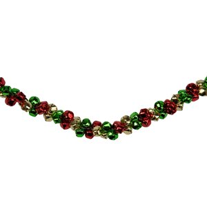 Northlight Festive Jingle Bell Artificial Christmas Garland - 5-ft x 1-in - Green and Red