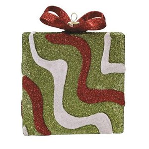 Northlight Glitter Swirl Shatterproof Gift Box Christmas Ornament - 5-in - Red and Green