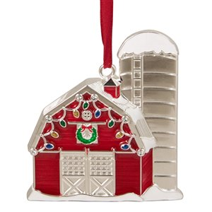 Northlight Barn House with Crystals Christmas Ornament - 3.5-in - Red and White