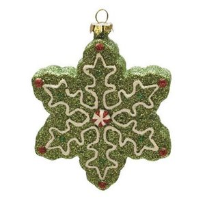Northlight Shatterproof Christmas Snowflake Ornament - 4-in - Green and White