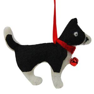 Northlight Cat with Bell Christmas Ornament - 4.5-in - Cream White and Black