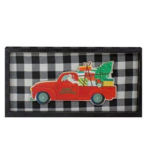 Northlight 8-in Black and White Buffalo Paid Santa Farm Truck Christmas Wall Art Plaque