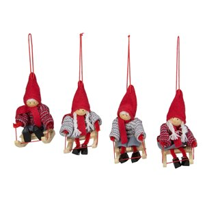 Northlight Holiday Kids on Sleds Christmas Ornament - Red and Gray