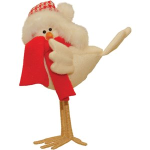 Northlight Beige and Red 8.25-in Standing Bird with Scarf Christmas Tabletop Decoration