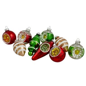 Northlight Glass 2-Finish Retro Reflector Glittered Christmas Ornaments - 3.5-in - Silver and Red - 9 Piece