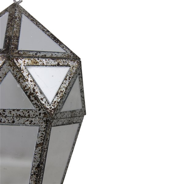 Northlight Mirrored Geometric Framed Drop Christmas Ornament - 10.5-in - Silver and Clear