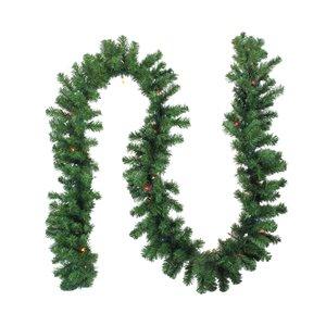 Northlight Pre-Lit Oak Creek Pine Artificial Christmas Garland - Multi Lights - 9-ft x 10-in - Green