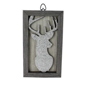 Northlight 10.25-in Silver Glittered Buck Silhouette Christmas Wall Art