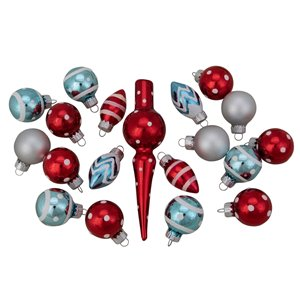 Northlight Frosted Glass Ornaments and Tree Topper Set - 5.25-in - Red and Blue - 19 Piece