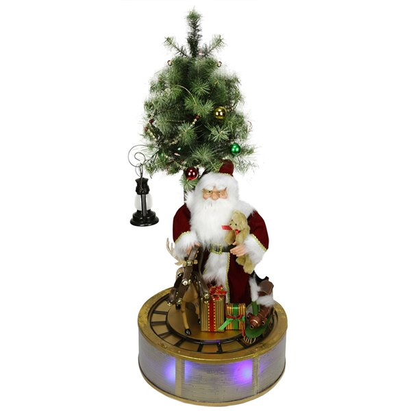 Northlight Red 48-in Musical LED Lighted Santa Claus with Rotating Train Christmas Tabletop Decoration