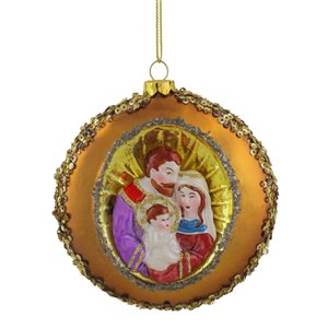 Northlight Joseph  Mary and Baby Jesus Sequin Glass Disc Christmas Ornament - 4-in